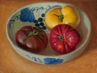 Heirloom tomatoes in a bowl, still life oil painting daily painting a day