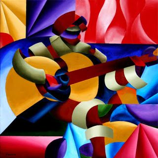 Mark Webster - Emily with Guitar - Abstract Geometric Futurist Figurative Oil Painting