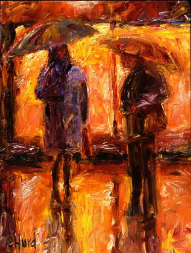 "Contemporary Figurative Art, Rainy City, Umbrellas ""Chatting"