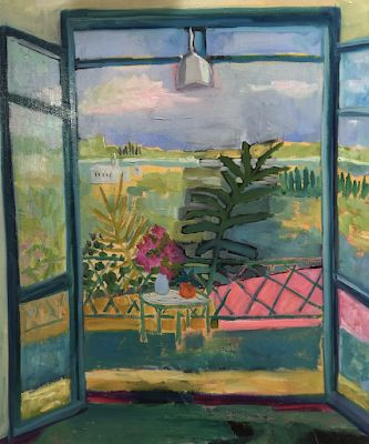 "Bold Expressive Contemporary Landscape, Interior View Art Painting ""ALEGRIA"" by Santa Fe Artist Annie O'Brien Gonzales"