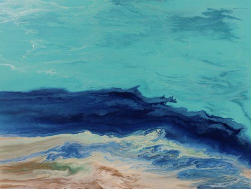 "Abstract Seascape,Coastal Living Decor,Beach Art "" Royal Wave X"" by Colorado Contemporary Artist Kimberly Conrad"