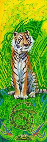 "Original Contemporary Wildlife Painting ""Tiger"" by Colorado Artist Nancee Jean Busse"