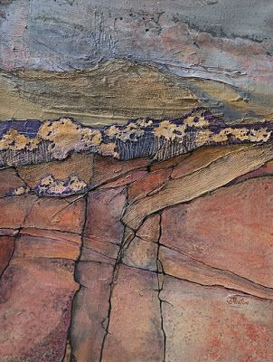 """Mixed Media Abstract Landscape Painting """"Chamisa Ridge II"""" by Colorado Mixed Media Abstract Artist Carol Nelson"""