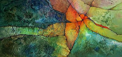 """Mixed Media Geologic Abstract Painting, """"Intersection II"""" by Carol Nelson Fine Art"""