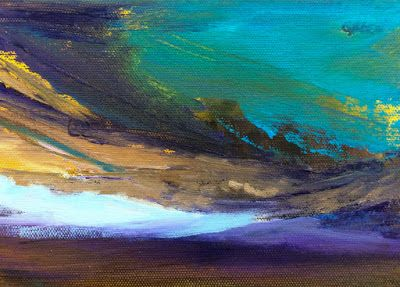 "Abstract Landscape, Skyscape Painting """"SUN SETTING"" SERIES 20 MINIATURE"" by Colorado Landscape Artist Susan Fowler"