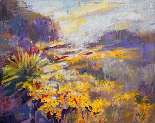 """""""Flowering Currents"""" Desert Landscape Painting by Niki Gulley"""