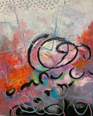 """Oil and Cold Wax, Mixed Media Abstract Painting, Contemporary Art """"Circus"""" by Carol Nelson"""