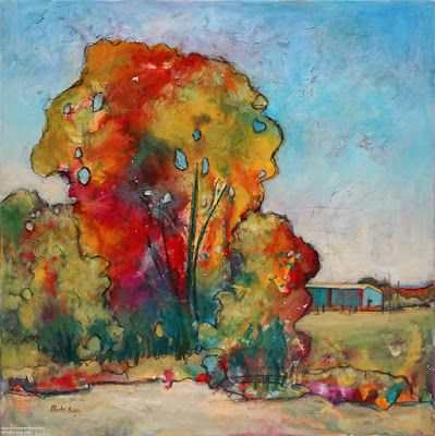 "Contemporary Landscape, Tree Painting, Mixed Media, ""Don't Forget"", By Passionate Purposeful Painter Holly Hunter Berry"