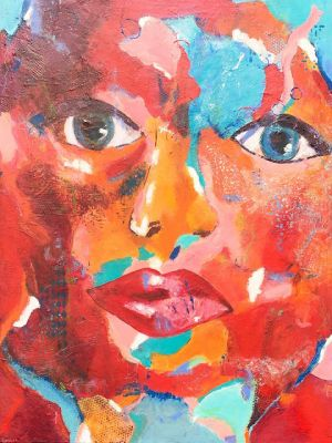 "Contemporary Abstract Expressionist Portrait Painting, ""Linked In"