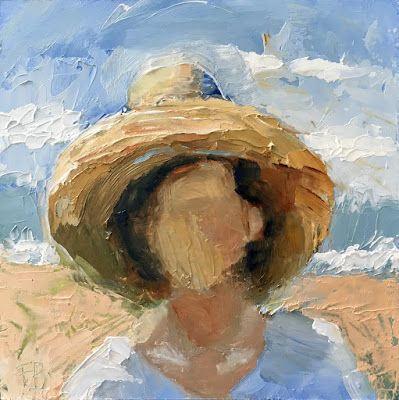 300 Day At The Beach, Painting of woman at beach with straw hat in the sun
