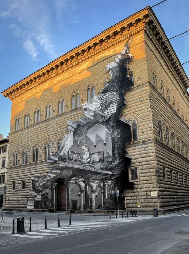 The Wound: JR's New Anamorphic Artwork Appears to Carve Out the Facade of Florence's Palazzo Strozzi