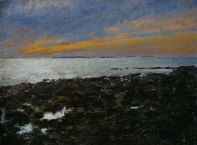 """Sunrise over the Shoals, "" Plein air oil by Todd Bonita"