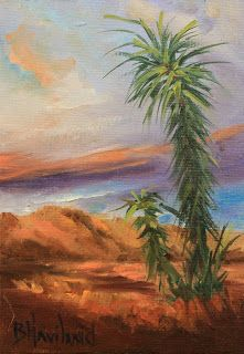 Desert Cacti,miniature oil painting,Barbara Haviland-Artist of Texas
