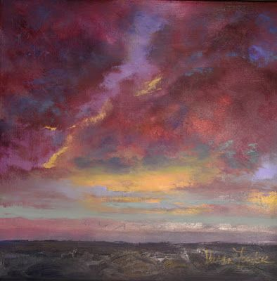 """Contemporary Landscape Fine Art Oil Painting, Sunset, Red Sky """"Seaside Skyscape"""" by Colorado Artist Susan Fowler"""