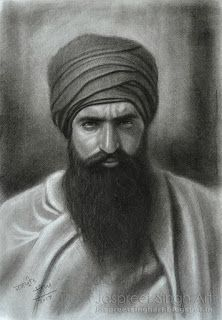 Sant Jarnail Singh Khalsa Ji Bhindrawale - Portrait with Charcoal 16'' by 11''
