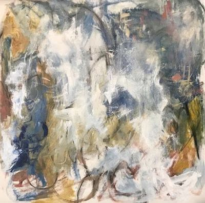 """Abstract Art, Expressionism, Contemporary Painting """"Winter Wonderland"""" by Oklahoma Artist Nancy Junkin"""