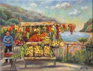 New Positano Oil Painting by Contemporary Impressionist Niki Gulley