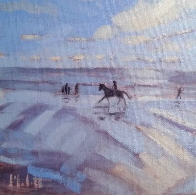 Horseback Riding on the Beach Art Original Oil Paintings