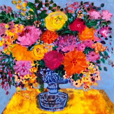 """Contemporary Expressionist Still Life Art,Bold Expressive Painting """"Closer to Spring"""" by Santa Fe Artist Annie O'Brien Gonzales"""
