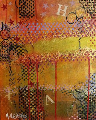 """Contemporary Abstract Art """"Gilded Delight"""" by Illinois Artist Marilyn Weisberg"""