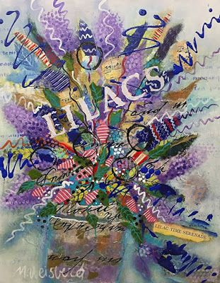 "Abstract Flower Art Painting, Contemporary Art, Music Art, Mixed Media Floral ""Lilac Time Serenade"" by Illinois Artist Marilyn Weisberg"