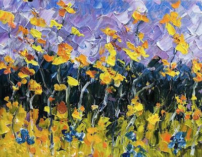 """Palette Knife Oil Colorado Landscape Painting """"Summer in Colorado"""" by Colorado Impressionist Judith Babcock"""