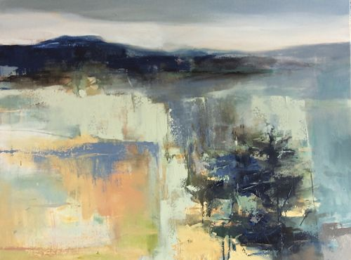 """Contemporary Abstract Landscape Painting """"Toward The Sky"""" by Intuitive Artist Joan Fullerton"""