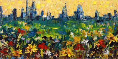 "Denver Skyline Landscape Painting,Palette Knife ""City Flower"" by Colorado Impressionist Judith Babcock"