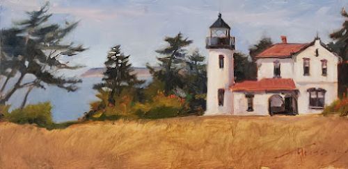 """""""Admiralty Head Lighthouse 2021"""" Whidbey Island plein air painting by Robin Weiss"""