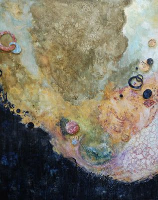 """Mixed Media Abstract Painting """"LIVING IN THE NOW"""" by Santa Fe Contemporary Artist Sandra Duran Wilson"""