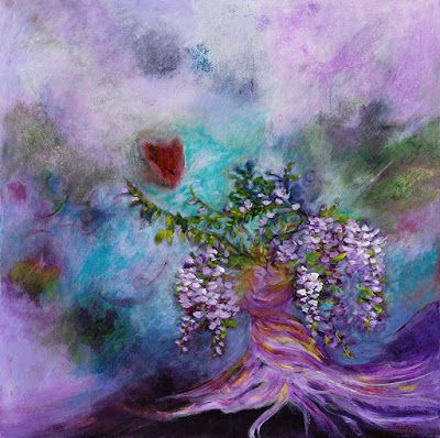 "Purple Painting, Abstract Floral, Contemporary Art, Expressionism,""Forever Tangled"" by Portland Contemporary Artist Liz Thoresen"