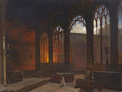 A. E. Haffer, Night Scene with a Monk in a Gothic Cloister