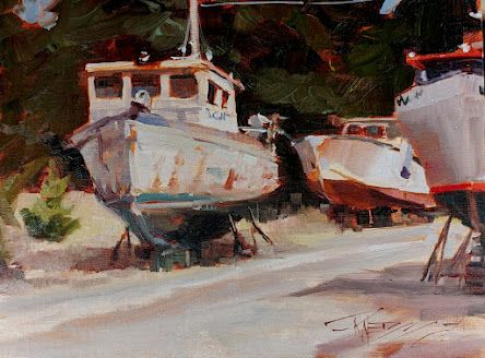 """""""LaConnor Boat Haven"""" plein air painting by Robin Weiss"""