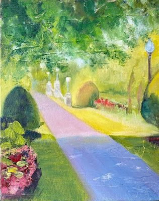 "Contemporary Landscape Painting, Park ""Summer Stroll"" by California Artist Cecelia Catherine Rappaport"