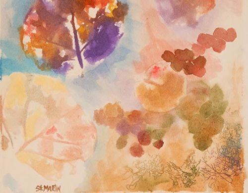 """Botanical Watercolor Painting """"Seagrapes and Sponges""""by Florida Impressionism Artist Annie St Martin"""