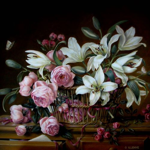 Detail of pink roses white lilies butterflies sicssors beribboned basket classical still life oil painting