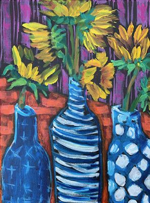 "Blue Vase, Expressive Still Life Floral Painting, Colorful Original Flower Art, ""WONKY KIND'A DAY"" by Texas Contemporary Artist Jill Haglund"