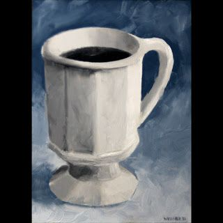 Mark Webster - Coffee Cup Black and White Oil Painting
