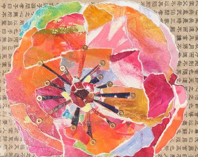 """Floral Art, Flower Painting,Textural Collage, Mixed Media """"PAPER BLOOM"""