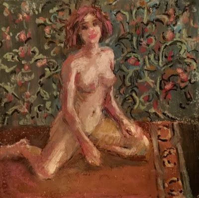 Nude Against a Flowered Screen - original oil pastel drawing of a nude