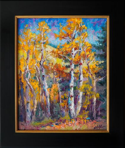 """""""Autumn's Descent"""" Aspen Painting by Contemporary Impressionist Niki Gulley"""