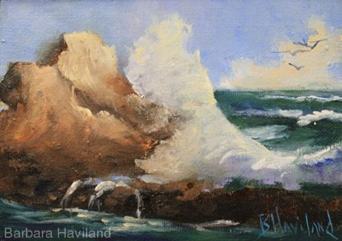 Waves & Rocks,seascape,oils canvas,Barbara Haviland-Texas Artist