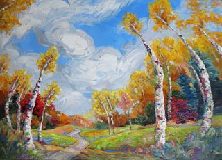 """Dreams Ahead"" Palette Knife Aspen Tree Painting by Niki Gulley"