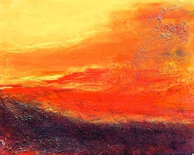 """Mixed Media Landscape Painting """"Here Today"""" by California Artist Cecelia Catherine Rappaport"""