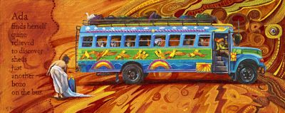 """Contemporary Art, Figure Painting , Bus,Painted School Bus, """"Ada, Quite Relieved"""" by Colorado Artist Nancee Jean Busse"""