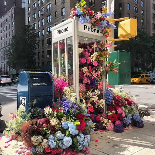 Sprawling Floral Installations Spill Over Garbage Cans and Phone Booths on New York City Streets