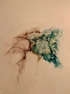 """Alcohol Inks, Abstract Painting, Contemporary Art """"STUDY TEAL AND BROWN"""" by Florida Artist Mary Ann Ziegler"""
