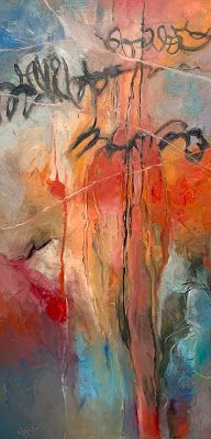 """Oil and Cold Wax, Mixed MediaAbstract Painting, """"Cryptic Message"""" © Carol Nelson Fine Art"""
