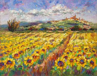 """""""Sun Shines on Tuscany"""" - New Sunflower Palette Knife Painting by Niki Gulley"""