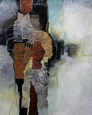 """Mixed Media Abstract Painting,Collage, """"Cloud Kiss"""" by Carol Nelson Fine Art"""